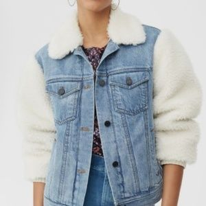 CASUAL DOLLZ Jean Jacket with Sherpa Sleeves